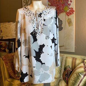St. John Silk Tunic Blouse Crystal Floral Print 14